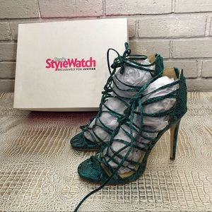 Justfab Women's Danette Teal Snake Lace Up Heels
